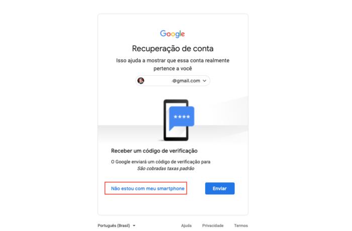 Recuperar conta Google - Nao estou com o smartphone
