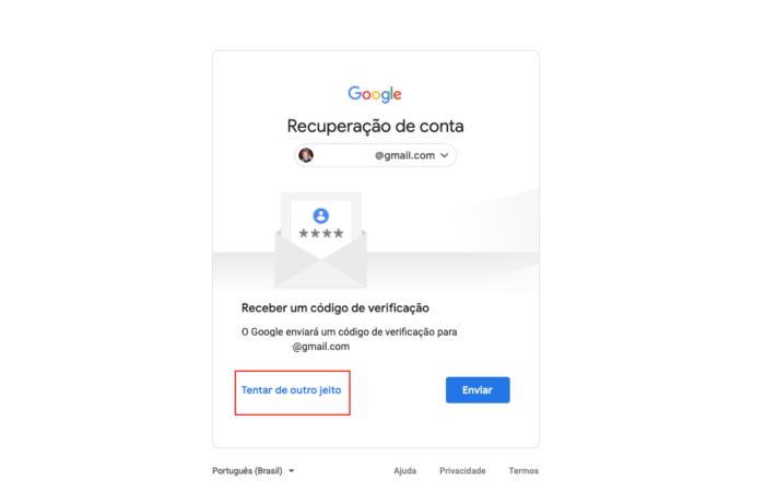 Recuperar conta Google - Tentar de Outro jeito