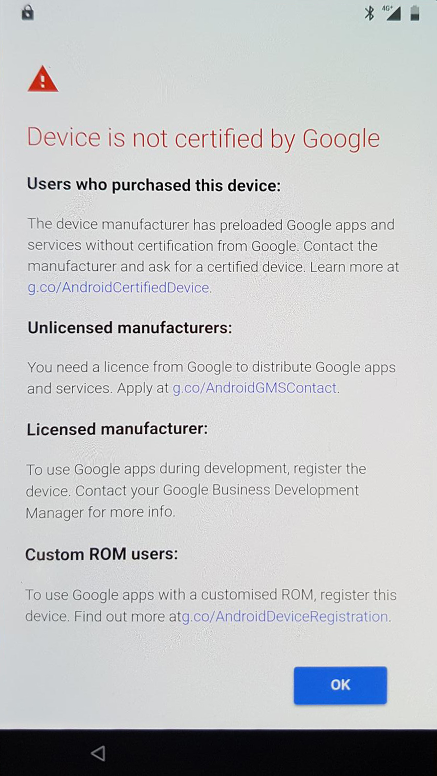 Google está impedindo login em dispositivos não-certificados com Android 1