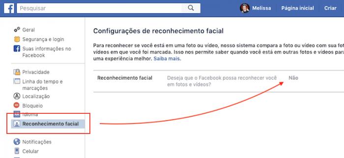 Como desativar Reconhecimento Facial Facebook