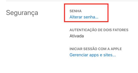 Mudar senha Apple ID (Imagem: Reprodução/Apple)