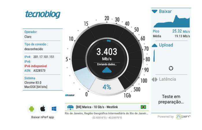 Como medir a velocidade da internet no Tecnoblog (nPerf)
