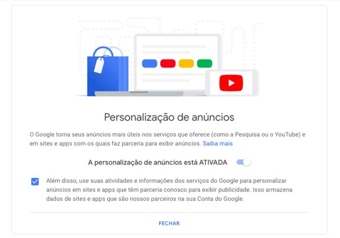 desativar anúncios personalizados do google