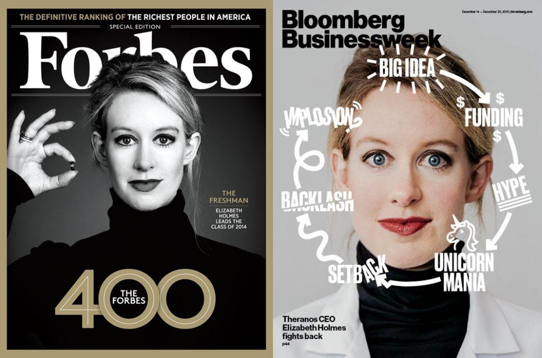 Elizabeth Holmes - capas da Forbes e Bloomberg Businessweek
