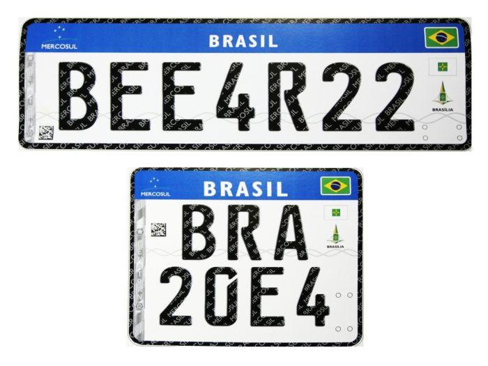 Placa brasileira no padrão Mercosul