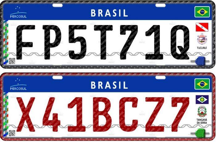 Placa brasileira no padrão Mercosul - cores