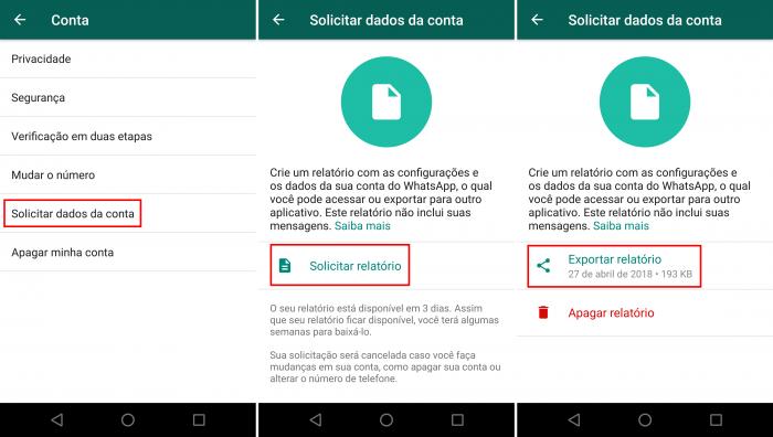 Baixar dados da conta do WhatsApp (Imagem: Reprodução/WhatsApp)