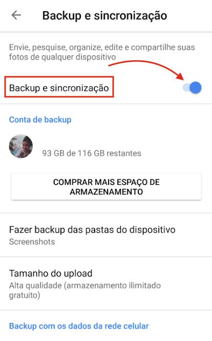 Backup Google Fotos Ativar
