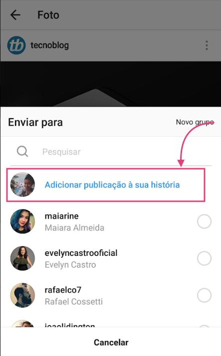 Compartilhar posts nos Stories do Instagram Direct