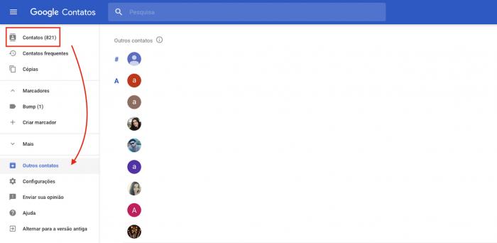 Contatos Google Gmail