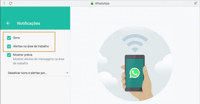 Notificações Toques WhatsApp Web