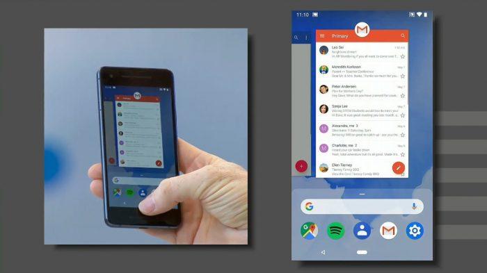Navegação por gestos no Android P