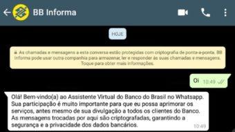 Banco do Brasil testa informar saldo e extrato da sua conta via WhatsApp
