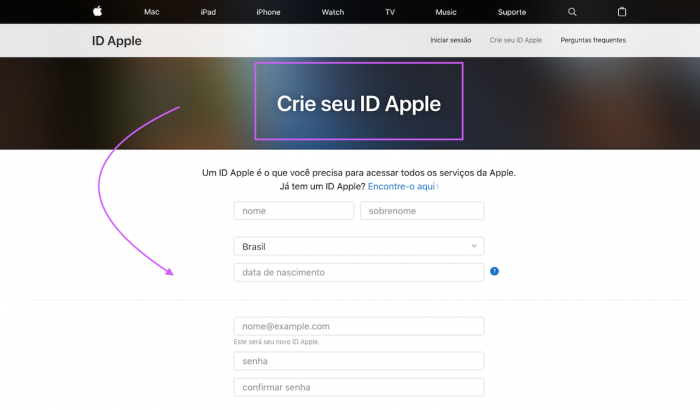 criar apple id icloud