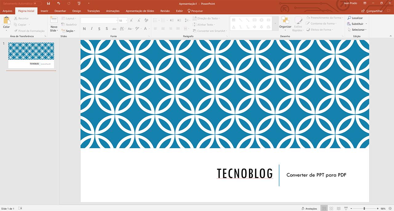 transformar arquivo do powerpoint em pdf