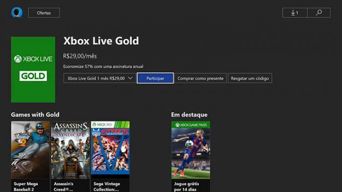 Tela de assinatura da Xbox Live Gold no Xbox One (Imagem: Reprodução/Microsoft)