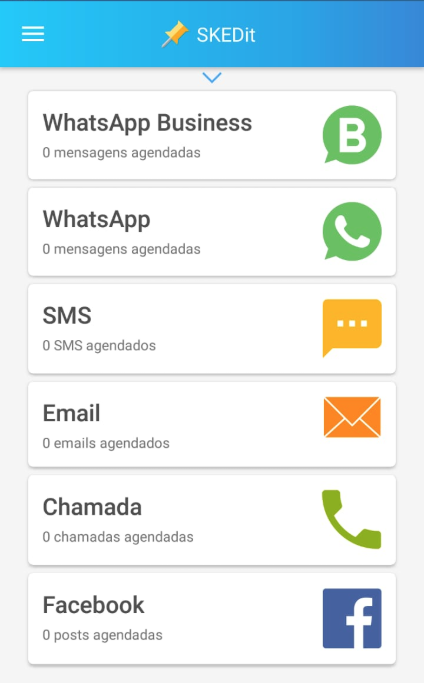 SKEDit pode agendar WhatsApp Email SMS Facebook