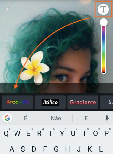 como usar o Snapchat Texto Fonte Arco-Íris