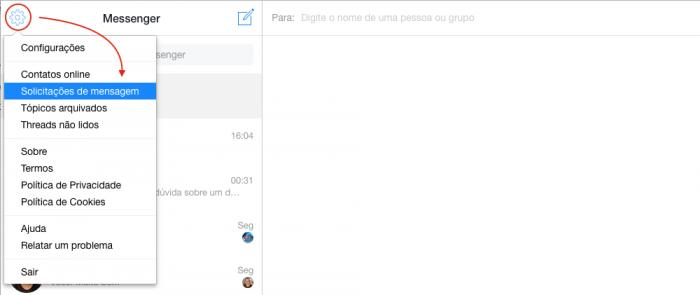 Solicitacoes de Mensagens Facebook