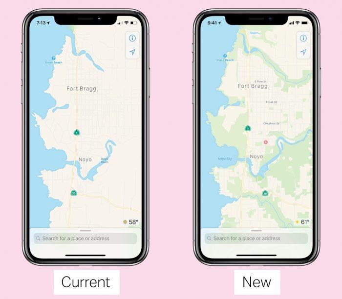 O Apple Maps vai exibir mais detalhes, mas o padrão de design será mantido