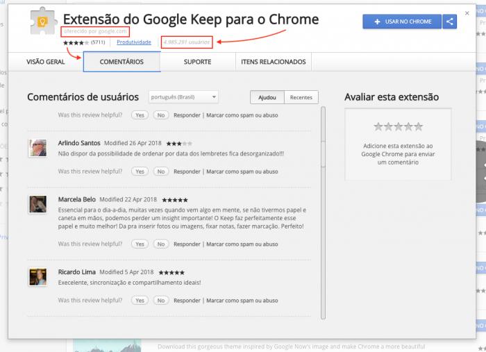 Comentários Extensões Chrome