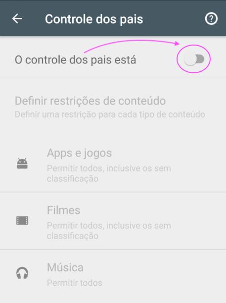 Controle de Pais Google Play Store