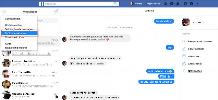 Conversas Arquivadas no Messenger (Facebook)