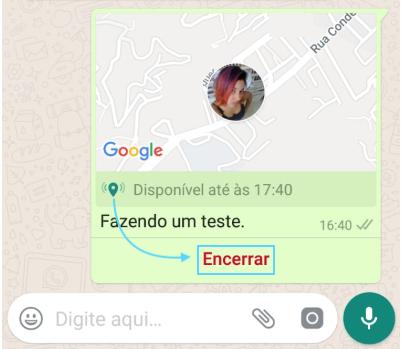 Encerrar localização WhatsApp