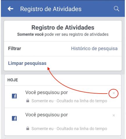 Excluir Historico Busca Facebook Celular