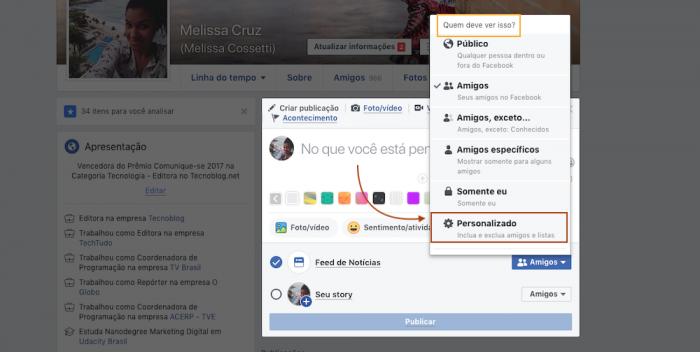 Facebook Lista Personalizado Privacidade