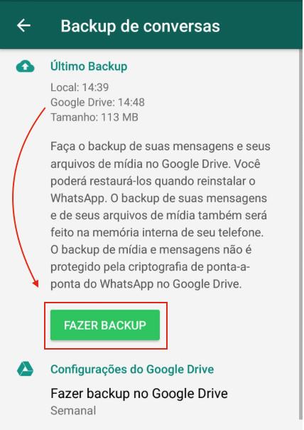 Fazer backup Google Drive WhatsApp