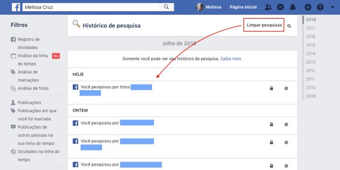 Historico de Pesquisa do Facebook