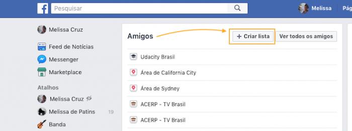 Listas de Amigos do Facebook Criar