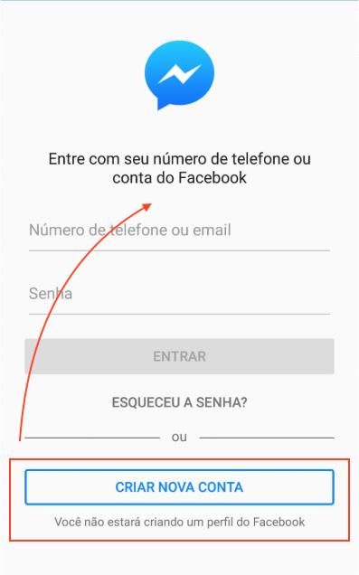 Messenger sem usar o Facebook