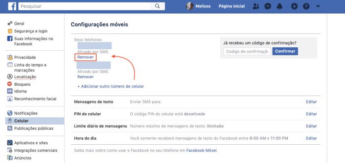 Remover Telefone Facebook
