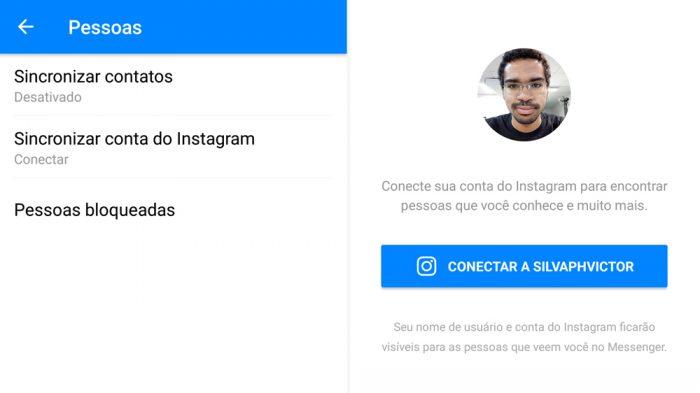 Sincronizar contatos do Instagram no Messenger