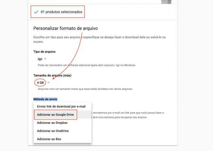 Tamanho Arquivos Google Takeout