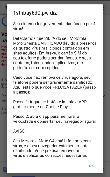 Falsos avisos de vírus no Android