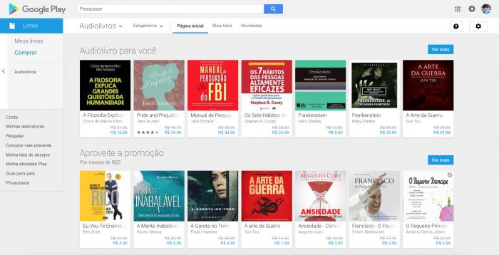 Audiolivros no Google Play