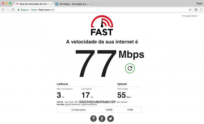 Teste de velocidade de internet da Netflix