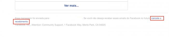 Cancelar email Facebook