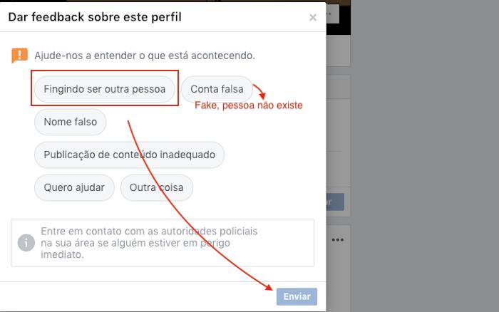 Dar Feedback sobre um perfil Facebook