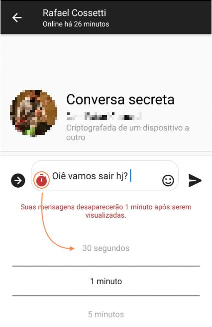 Definir prazo Messenger Conversa Secreta
