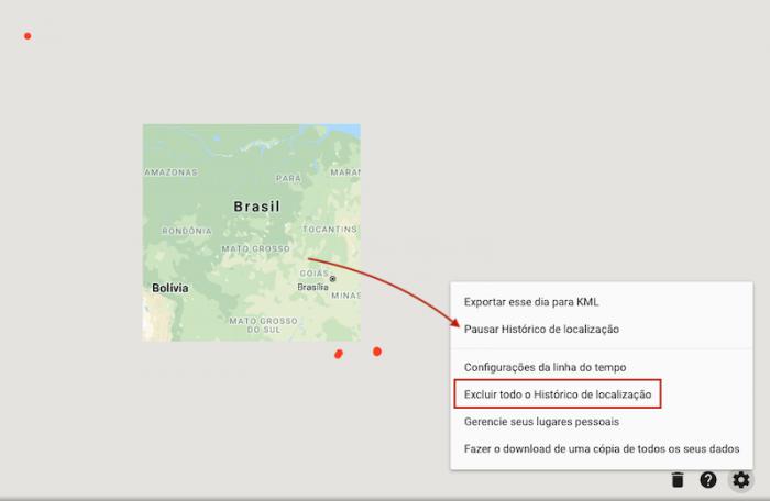 Excluir histórico de localização Google