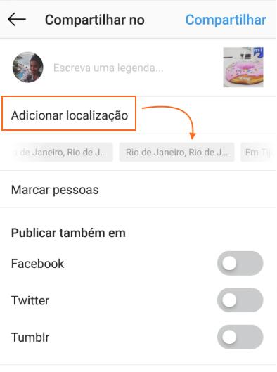 Localização Instagram