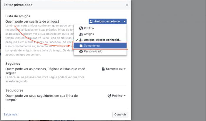 Ocultar lista de Amigos no Facebook