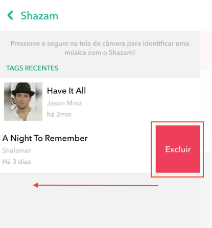 Shazam Snapchat Excluir Musicas