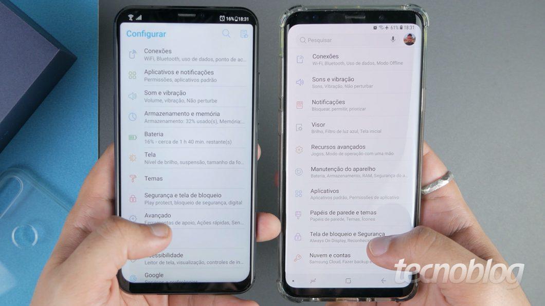 ZenUI (à esquerda) e Samsung Experience (à direita)