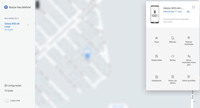 Find My Mobile permite rastrear um celular Samsung perdido ou roubado (Imagem: Reprodução/Samsung)