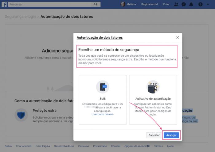 Autenticação de dois Fatores Facebook